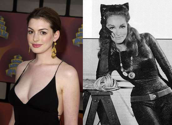Anne Hathaway and Julie Newmar