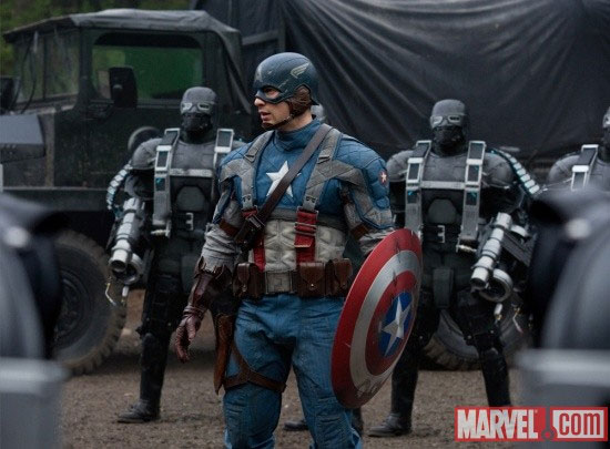 Actor Chris Evans as Captain America