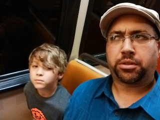 Me and my son riding on the subway